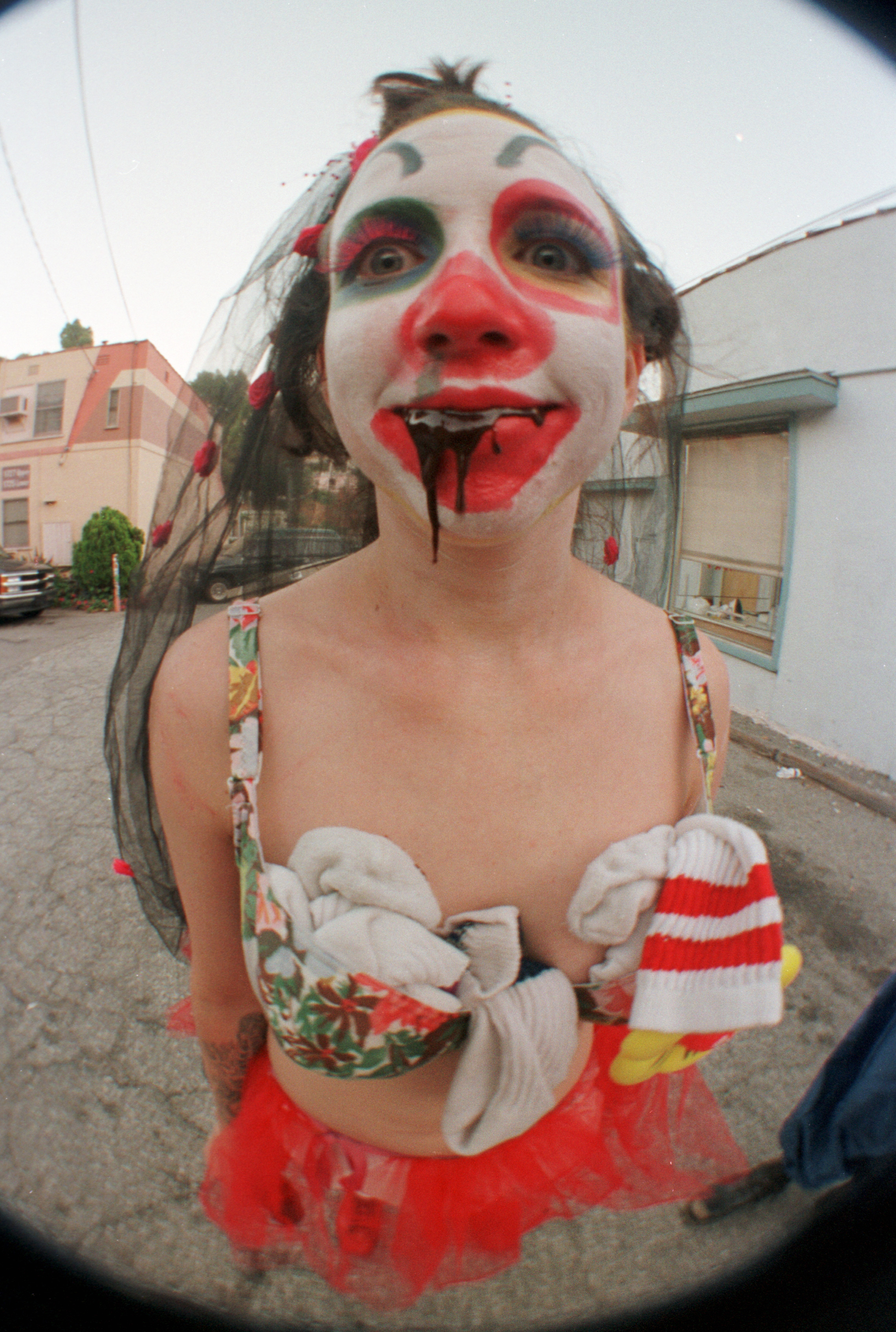 Chuckles the Clown, star of Chicken John and Dannygirl's Cirkus Redickuless - photo by Phillip Glau