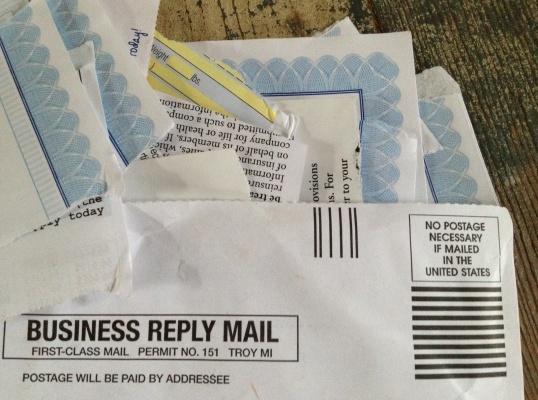 Ripping up the insides of the mailer sends a clear message to the company to re-think mass mailers. Include other non-SASE junk along with it, if it fits.